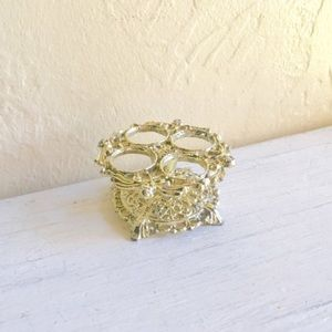 Vintage Gold Filigree Metal Lipstick Holder Stand
